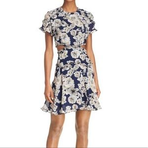 Bardot floral mini dress L navy cut outs